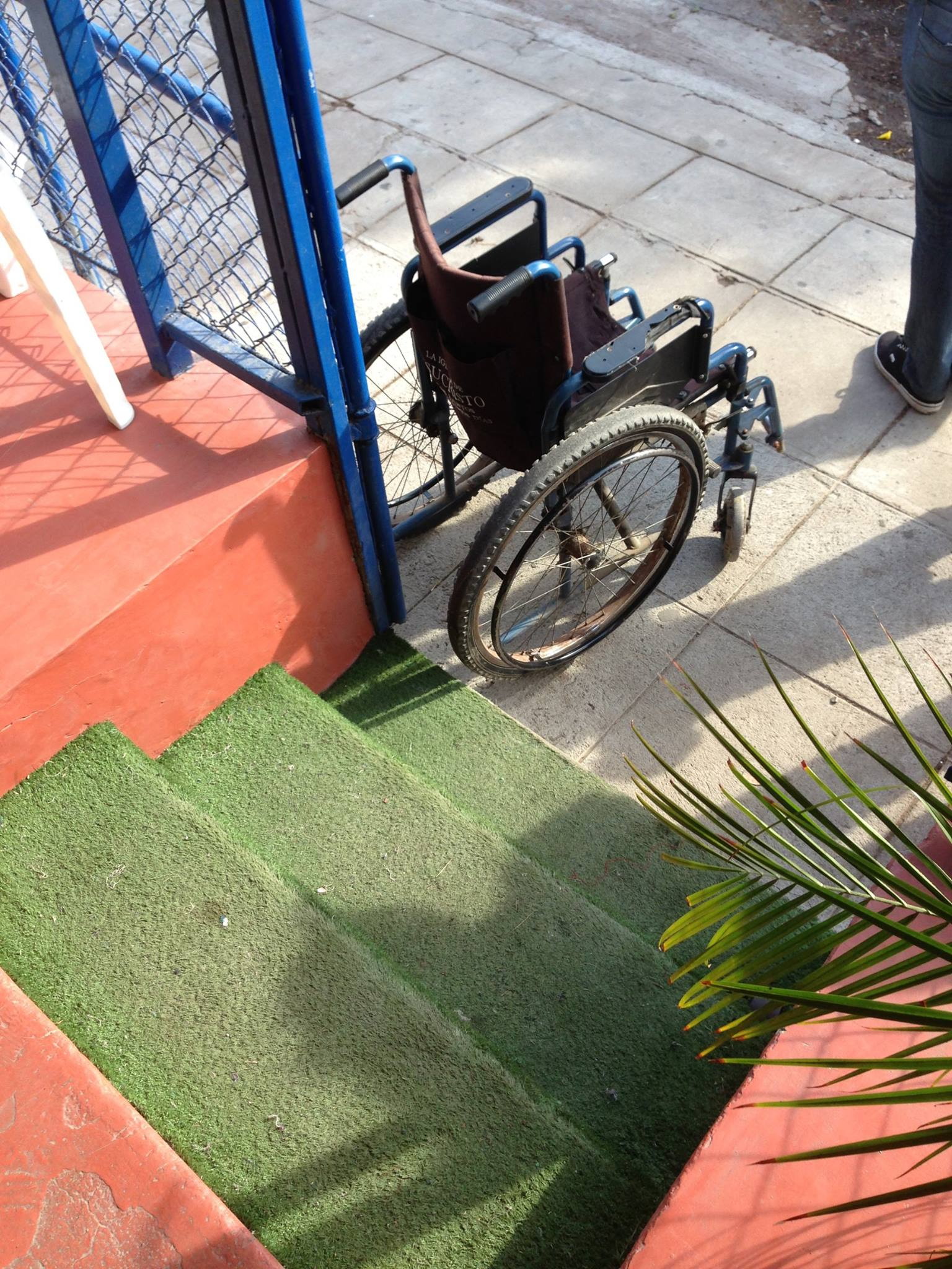 Luis' lonely wheelchair.