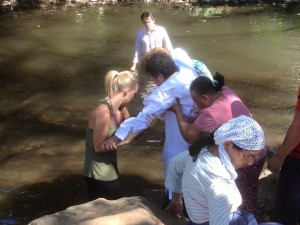 Luis Makes His Way To Be Baptized